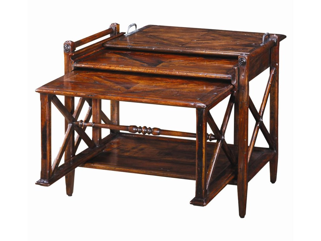 Theodore Alexander TablesAntiqued Wood Parquetry Table Nest