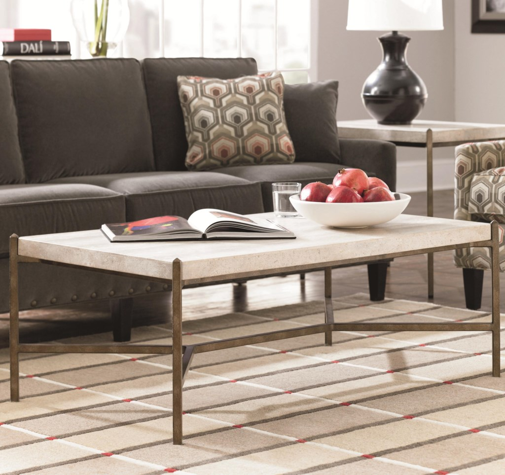 thomasville® cachet rectangular coffee table w/ travertine stone