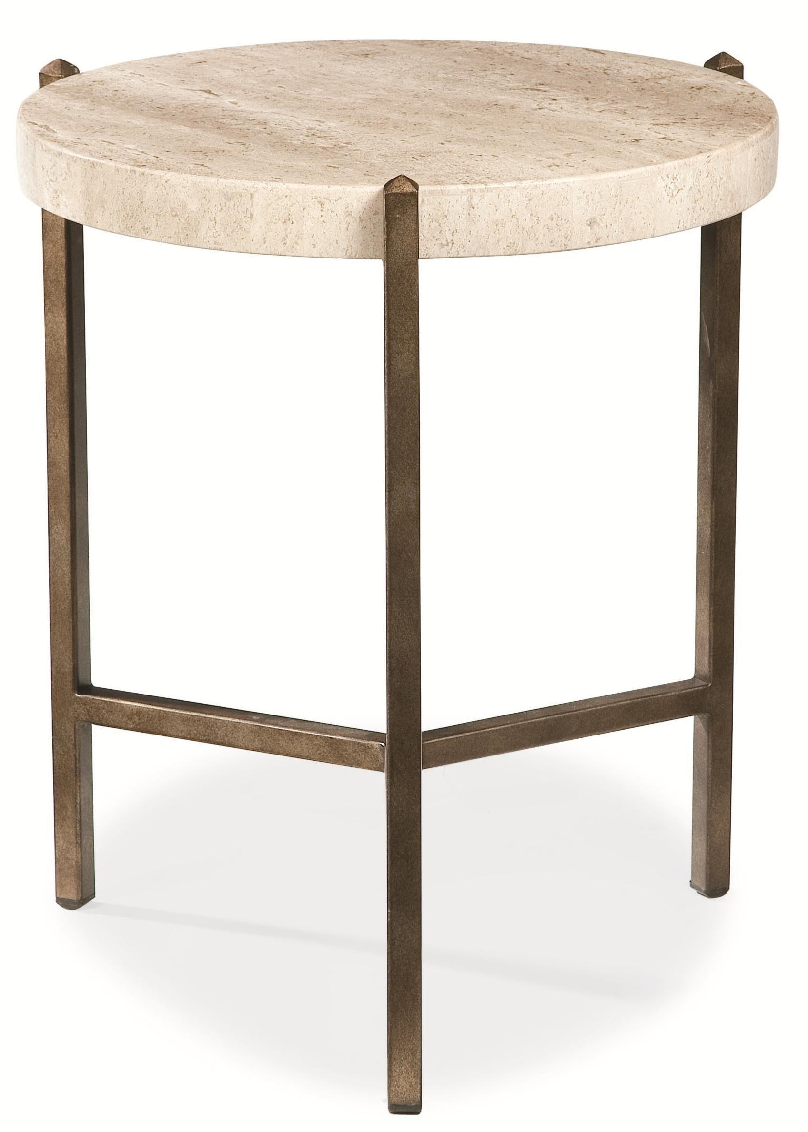 Elegant Thomasville® Cachet Round Lamp Table W/ Travertine Stone Top   Dunk U0026  Bright Furniture   End Table