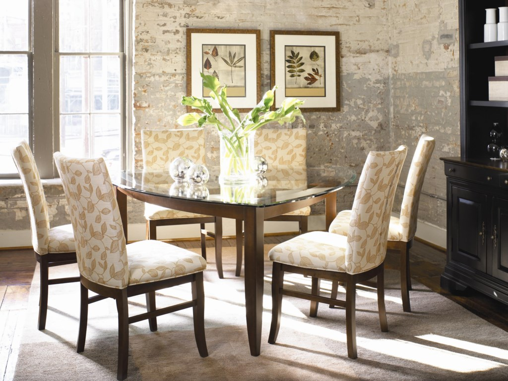 thomasville color cafe custom dining customizable triangular shown with side chairs and china cabinet
