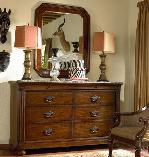 Thomasville® Ernest Hemingway Malawi Dresser W/ Marble Top And Landscape  Mirror   Dunk U0026 Bright Furniture   Dresser U0026 Mirror