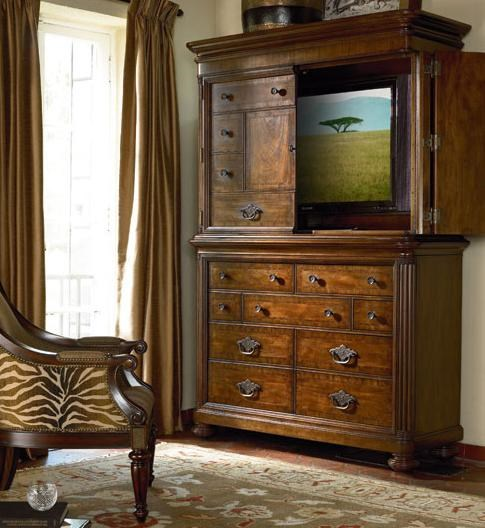 Media Chest Shown in Room Setting with Open Hutch