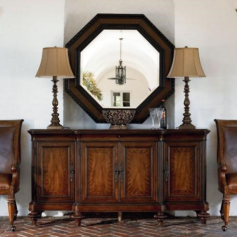 Steppe Octagonal Mirror Shown with Buffet