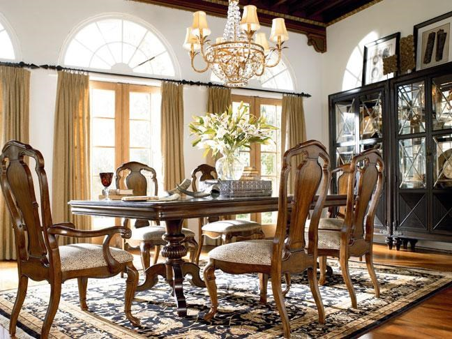 Castillian Double Pedestal Table Shown with Granada Side, Arm Chairs and Masai Curio China