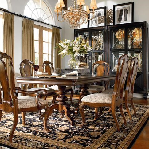 Granada Arm Chair Shown in Room Setting with Castillian Double Pedestal Table, Side Chair and Masai Curio China