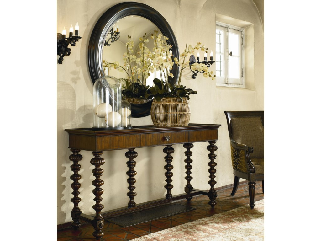 Basque Console Table Shown with Romero Round Mirror