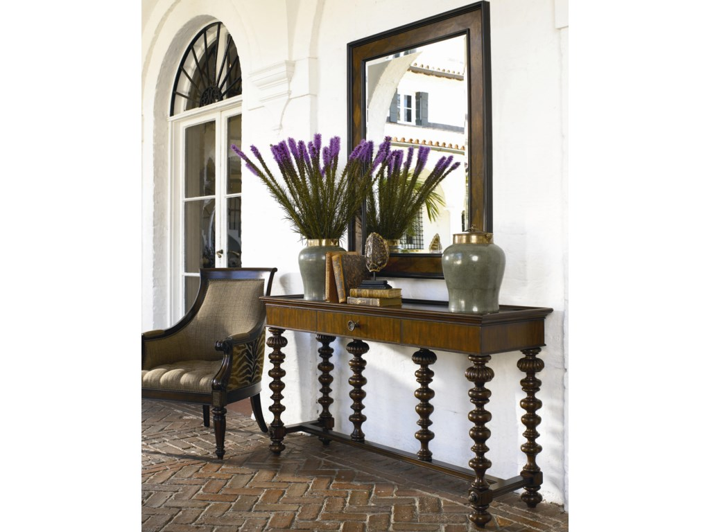 Thomasville ernest hemingway basque sofa table w drawer adcock basque console table shown with matador mirror geotapseo Gallery