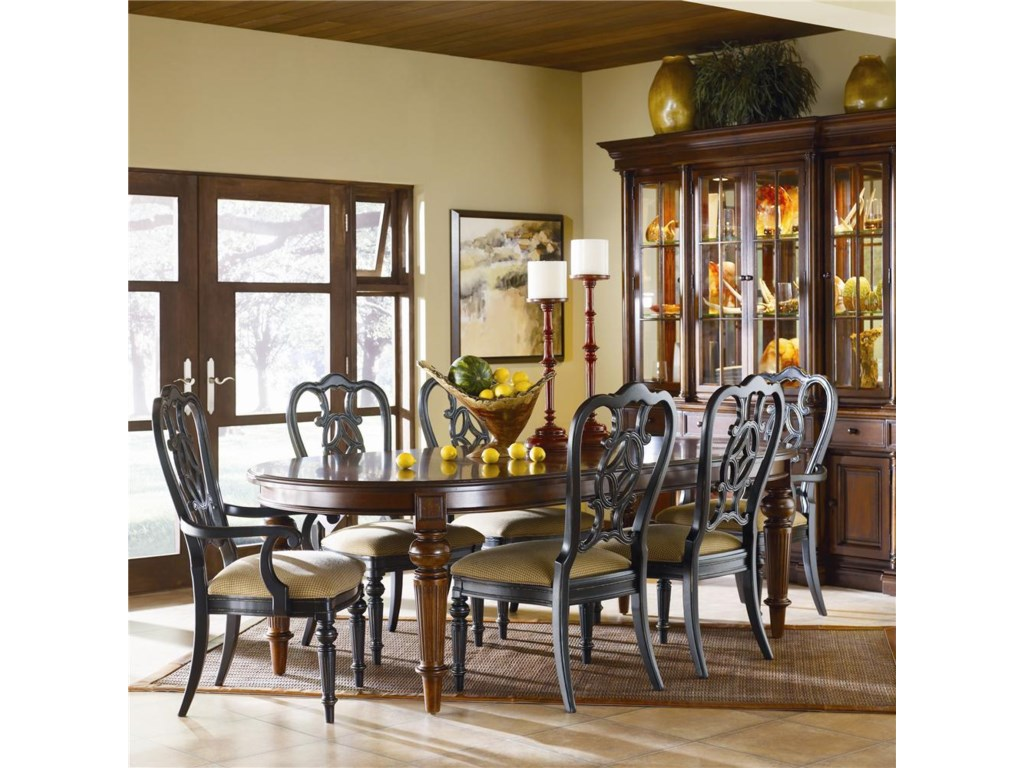Home Dining Room Furniture China Cabinet ThomasvilleR Fredericksburg Breakfront Shown With Seven Piece Set