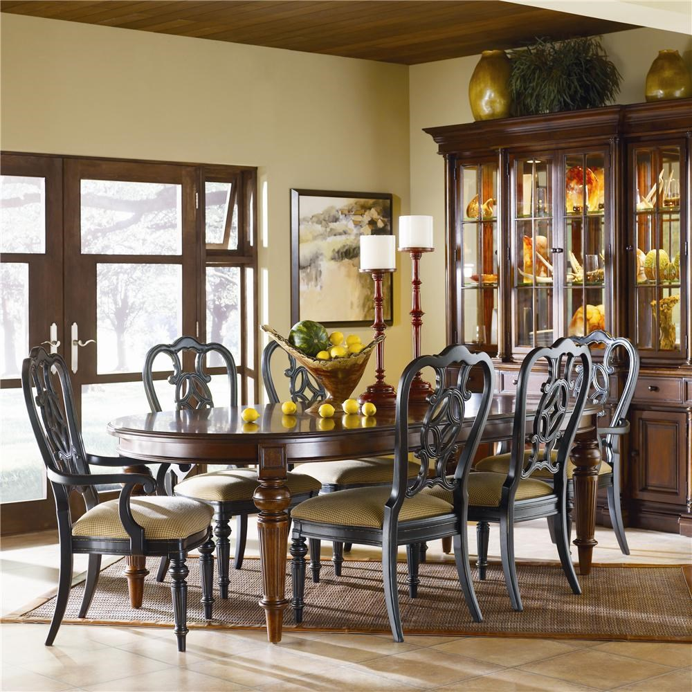 thomasville fredericksburg oval dining table with two 20 shown with dining arm chairs and side chairs in an ebony finish and a china cabinet