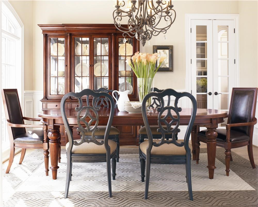 thomasville fredericksburg oval dining table with two 20 shown with four side chairs in an ebony finish two upholstered arm chairs and