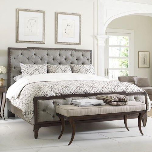 Thomasville Harlowe Finch Mirabeau Queen Sized Bed With Upholstered Headboard And Footboard