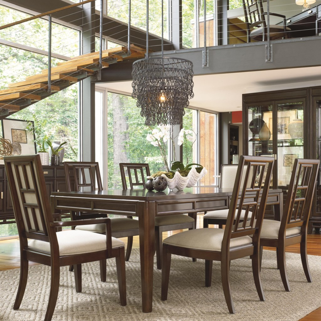 thomasville lantau rectangular dinner table adcock furniture shown with table and arm chairs
