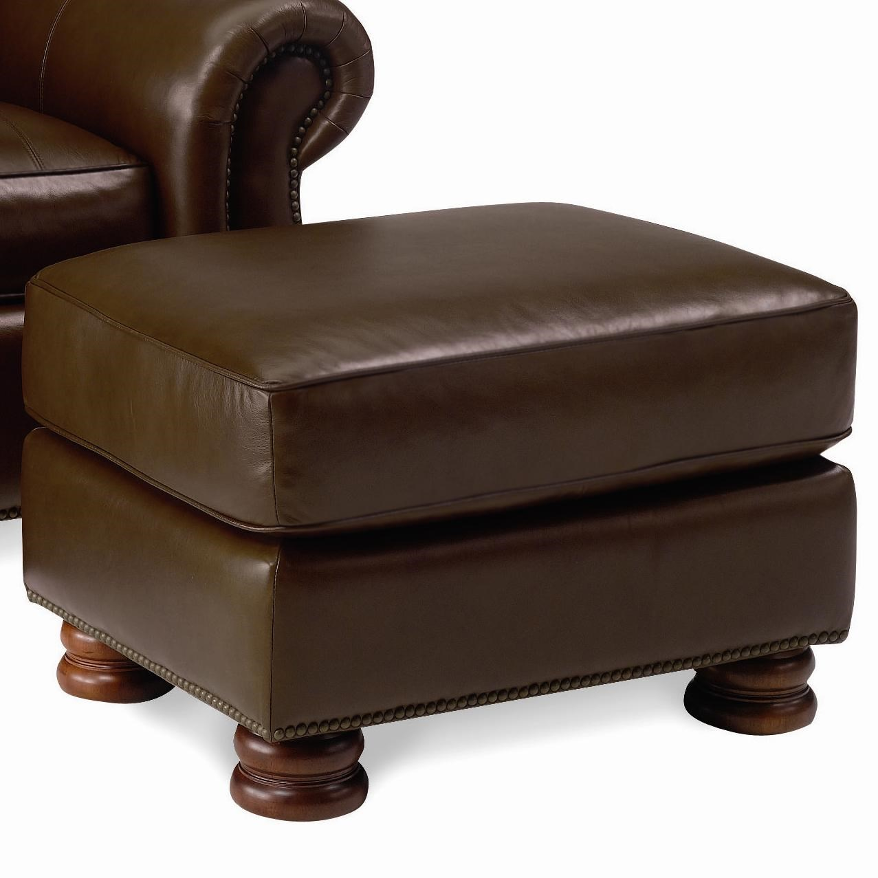 Thomasville® Leather Choices   Benjamin Leather Select Ottoman With Bun  Feet In Double Fudge Leather
