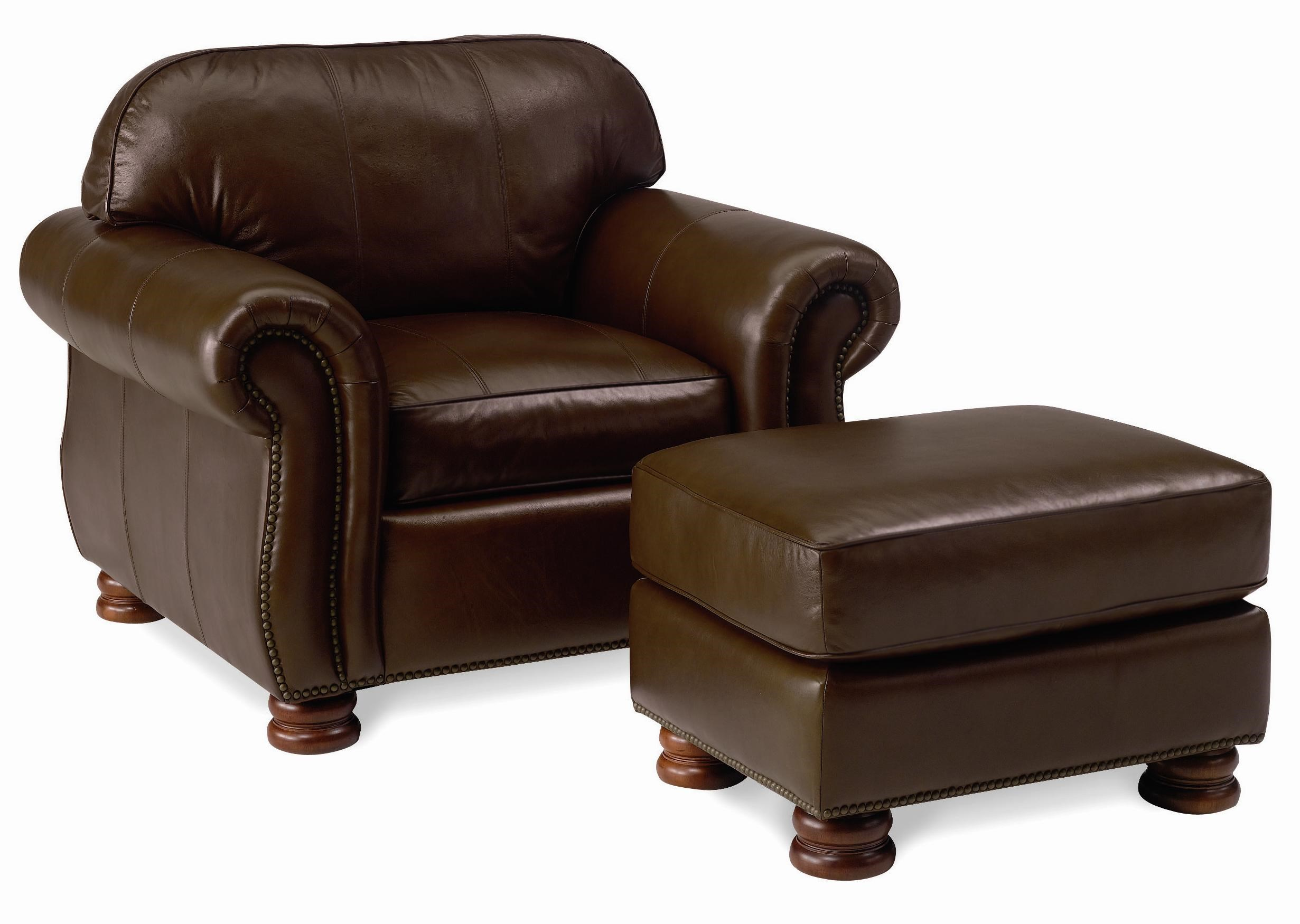 Thomasville® Leather Choices   Benjamin Leather Select Arm Chair And  Ottoman Set