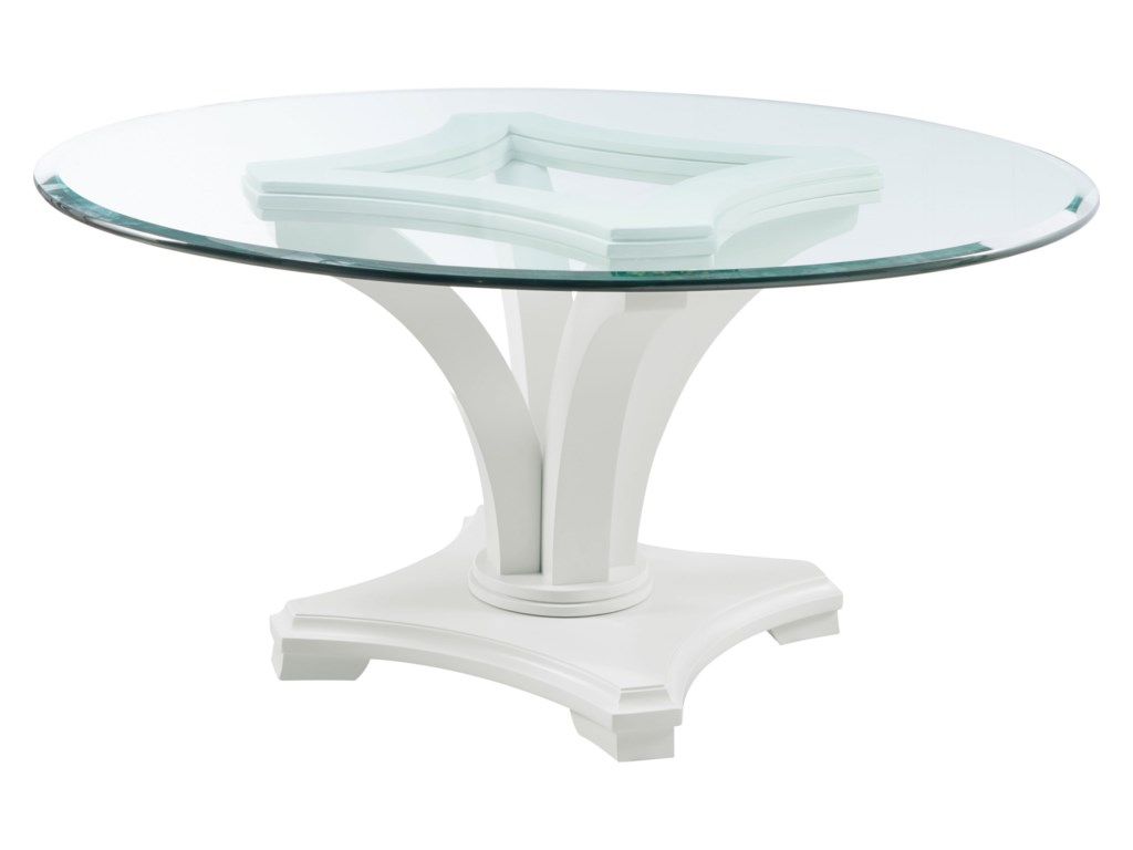 Manuscript Contemporary Round Dining Table with Glass Top by Thomasville®  at Baer\'s Furniture