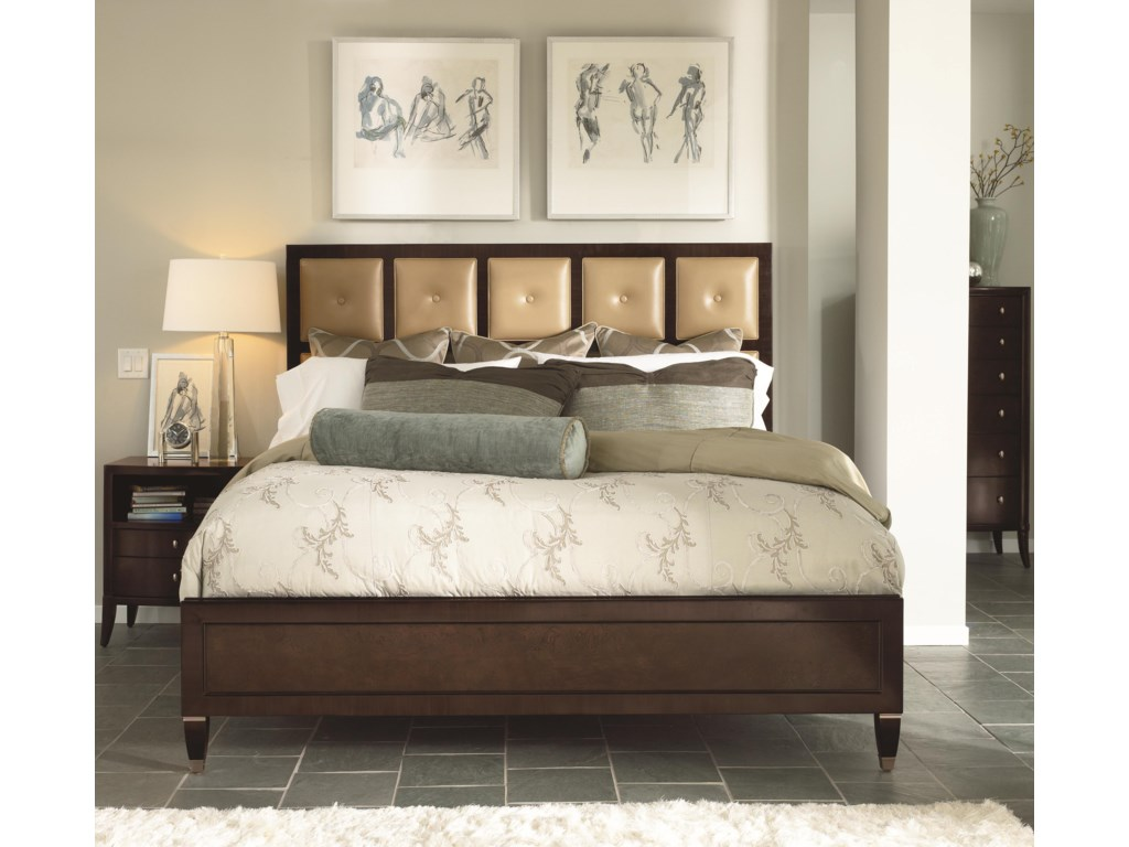 Shown in Room Setting with Nightstand and Leather Panel Bed