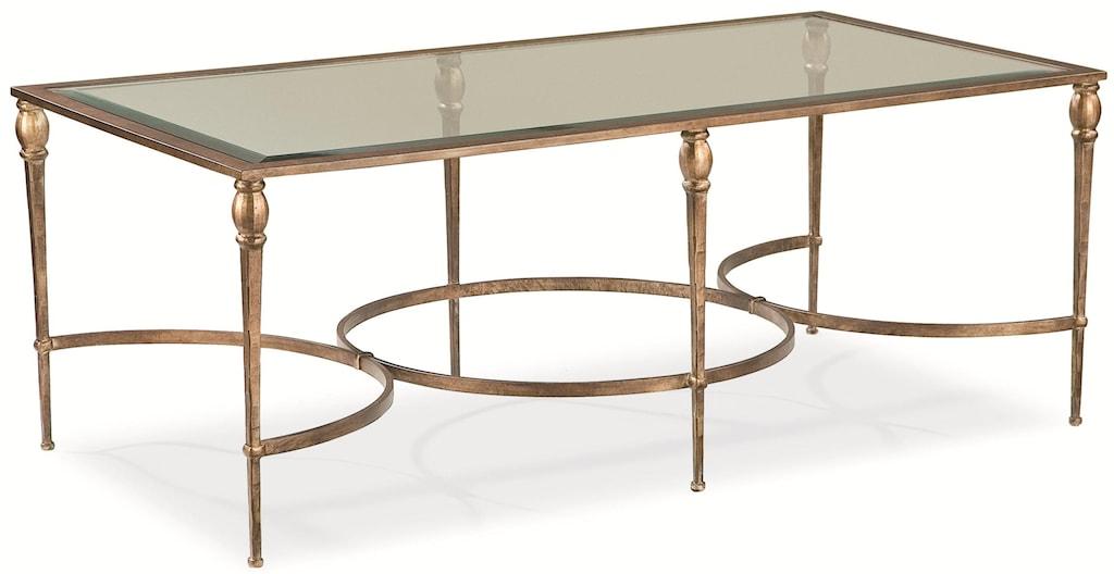 thomasville® stiletto rectangular coffee table w/ glass top - dunk