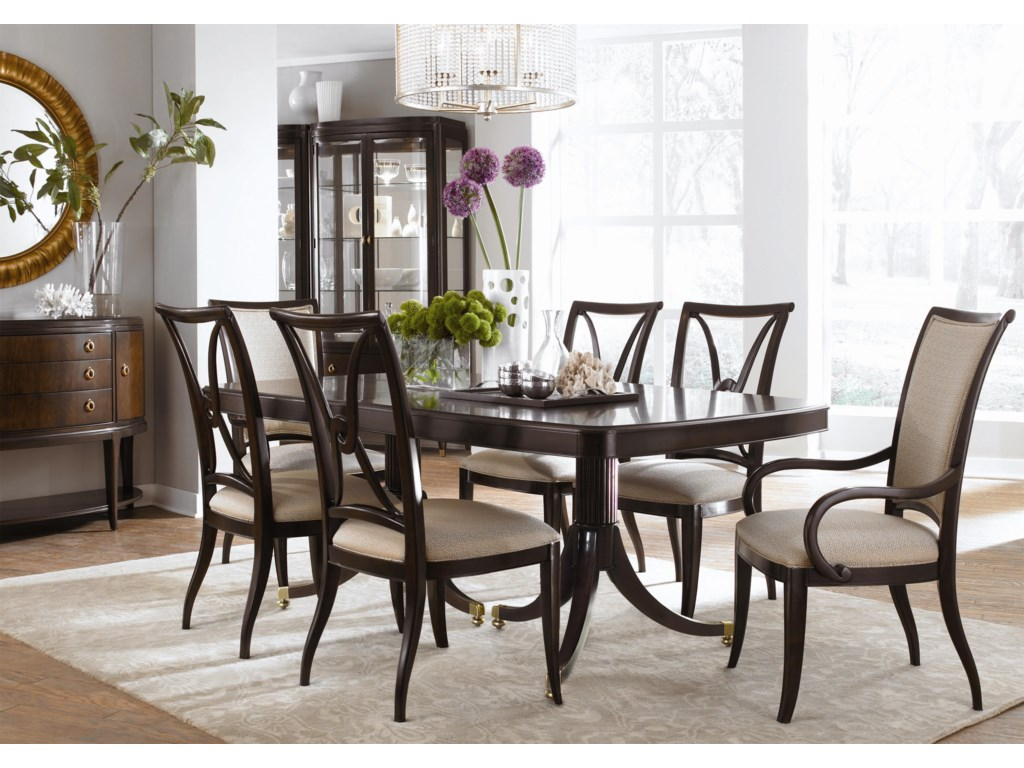 Shown with Double Pedestal Dining Table, Side Chairs, Upholstered Arm Chairs, Credenza, and Mirror
