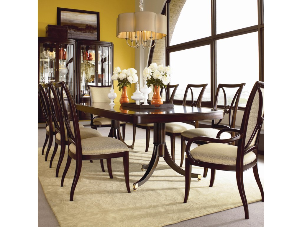 Shown with Double Pedestal Dining Table, Arm Chairs, and Bunching Curios
