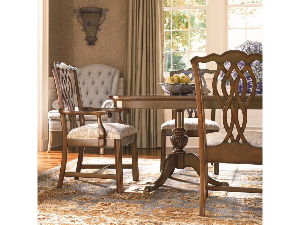 Shown in Room Setting with Side Chair and Double Pedestal Table