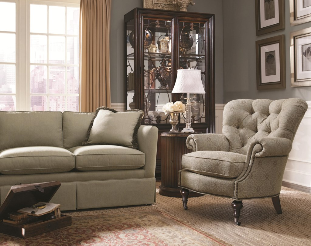 Thomasville Upholstered Chairs and Ottomans Vienna Tufted Back