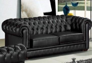 Titanic Furniture L14 Black Leather Sofa W Tufting Dream Home