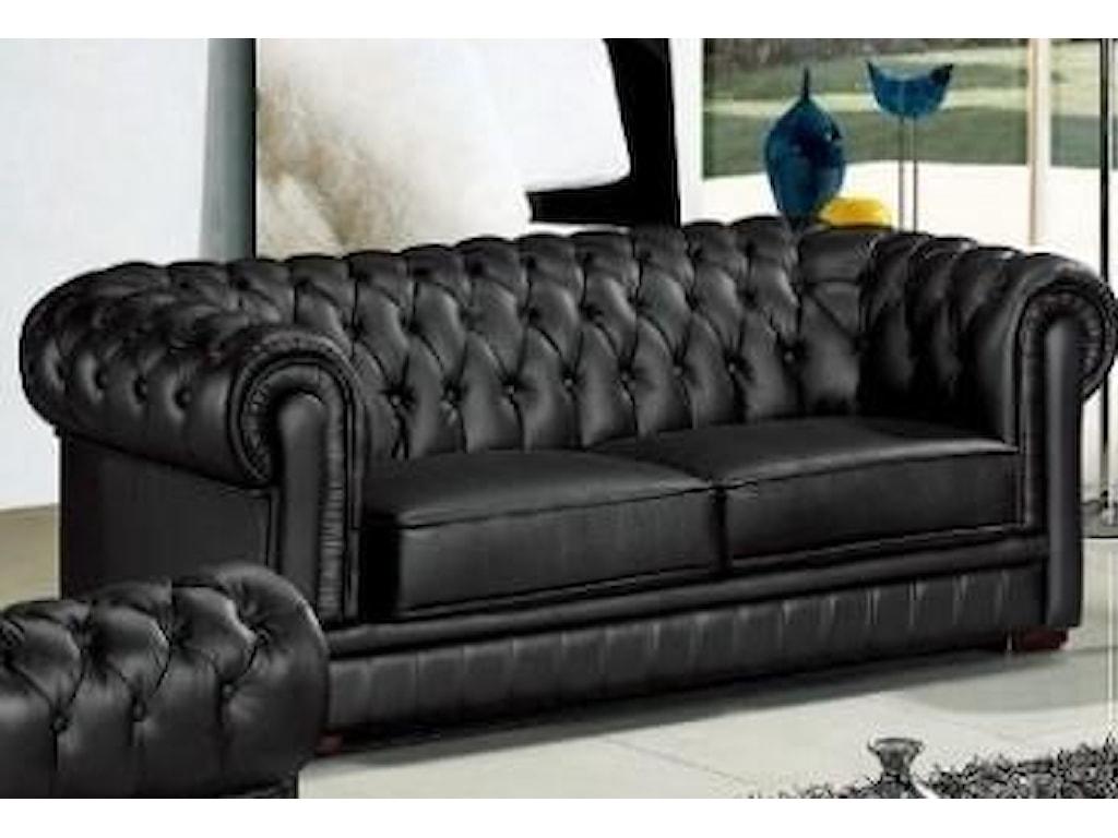 Titanic Furniture L14 Black Leather Sofa w/Tufting | Dream Home ...