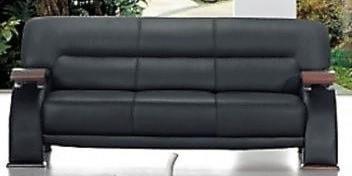 Titanic Furniture L266 Contemporary Black Leather Sofa W Exposed