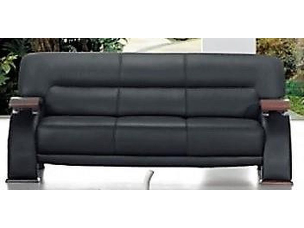 Titanic Furniture L266 Contemporary Black Leather Sofa w/Exposed ...