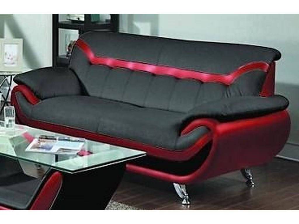 L518 Contemporary Sofa Black/Red w/Flared Tapered arm by Titanic Furniture  at Dream Home Furniture
