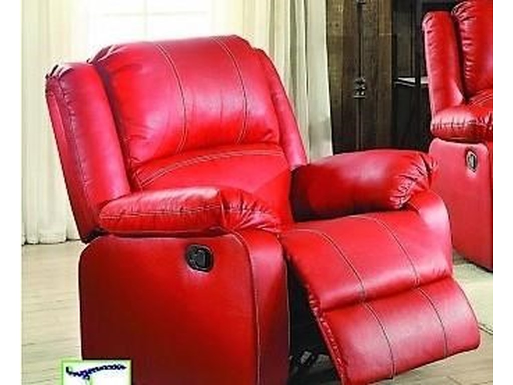 L611 casual rocking reclining red chair by titanic furniture