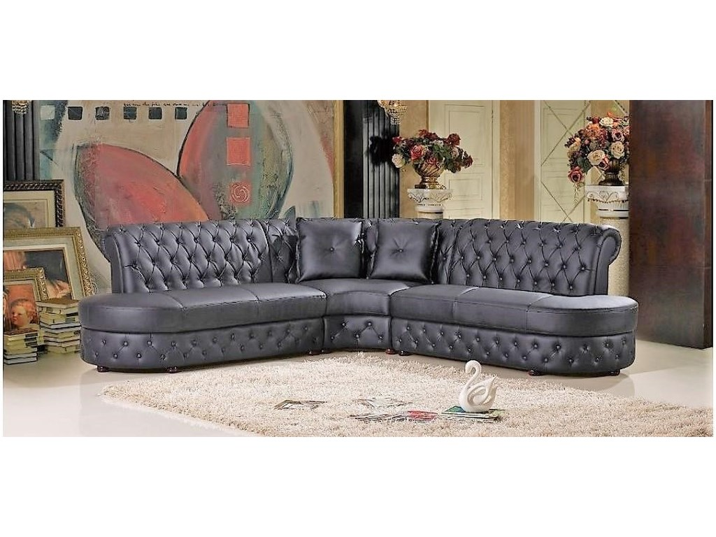 Titanic Furniture S160 Contemporary 3 Pc Leather Sectional Black