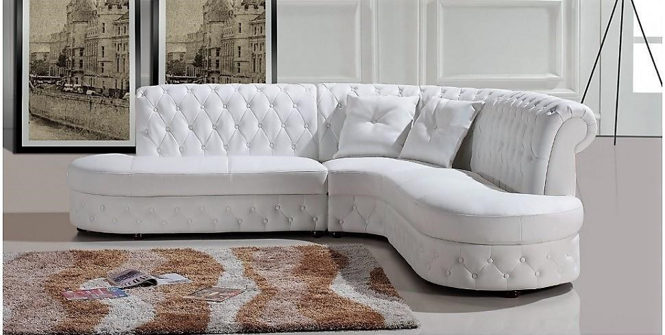 Titanic Furniture S161 Contemporary Leather 2 Pc Sofa Chaise White