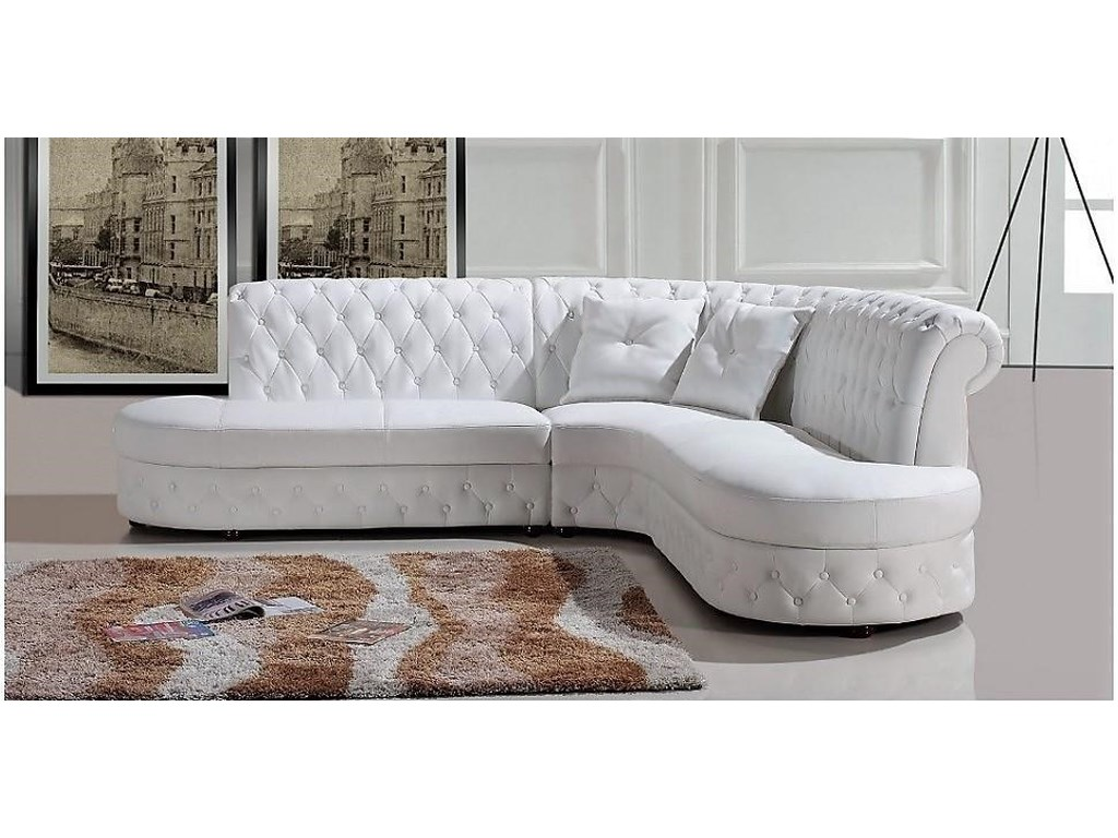 Titanic Furniture S161 Contemporary Leather 2-Pc Sofa/Chaise White ...