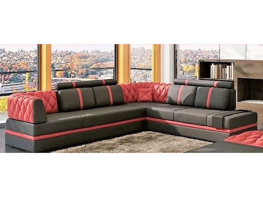 S175 3 piece sectional w raf chaise ottoman by titanic furniture