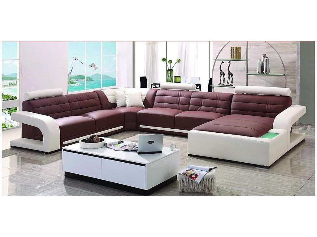 S182 Contemporary Sectional w/LAF Loveseat/RAF Chaise by Titanic Furniture  at Dream Home Interiors