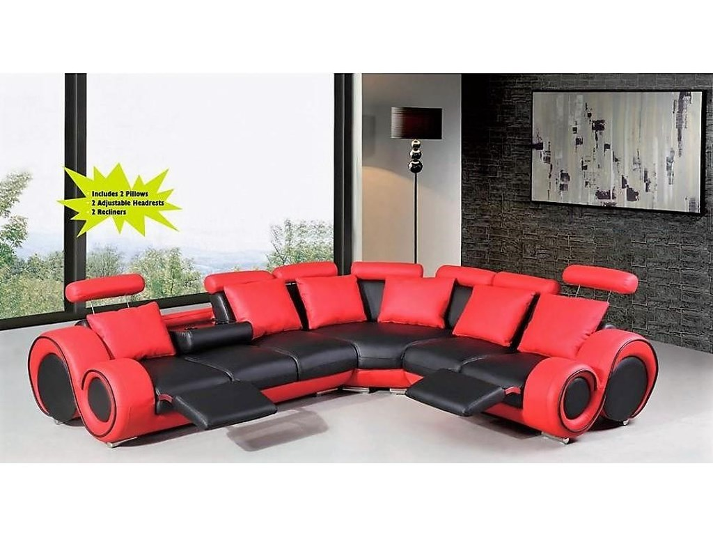 Titanic Furniture S206 Contemporary Reclining 3-Piece Sectional ...