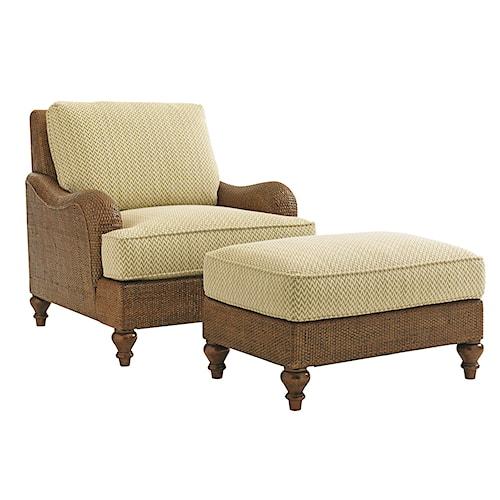 Tommy Bahama Home Bali Hai Harborside Chair and Ottoman Set