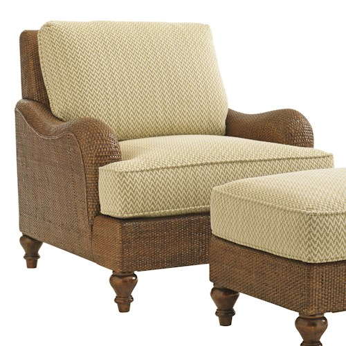 Tommy Bahama Home Bali Hai Harborside Chair with Woven Dark Wicker Frame