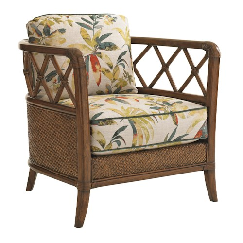 Tommy Bahama Home Bali Hai Glen Isle Chair with Wicker and Rattan Frame