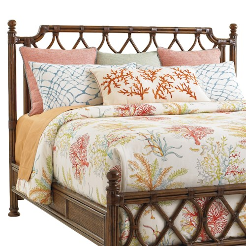 Tommy Bahama Home Bali Hai Queen Island Breeze Rattan Headboard