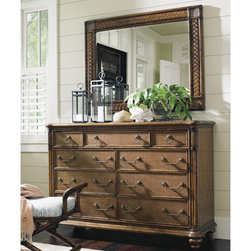 Tommy Bahama Home Bali Hai Breakers Double Dresser and Sunrise Landscape Mirror Set
