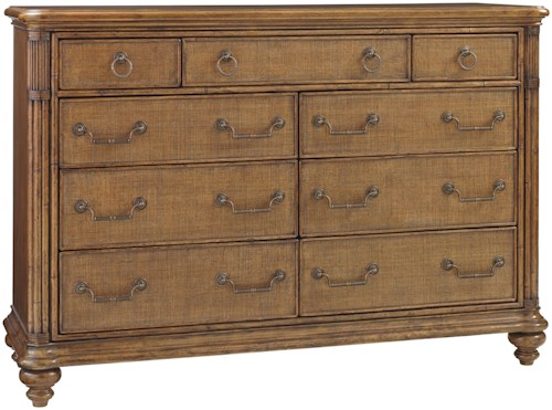 Tommy Bahama Home Bali Hai Breakers Double Dresser with Wire Management and Drop-Front Media Drawer