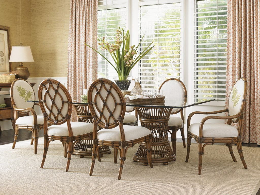 tommy bahama home bali hai tropical double pedestal 7 piece dining
