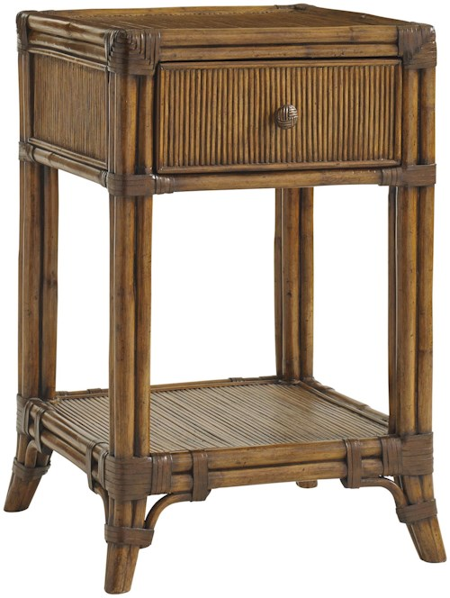 Tommy Bahama Home Bali Hai Del Sol Bedside Table with Open Display Shelf and Pencil Rattan Detailing