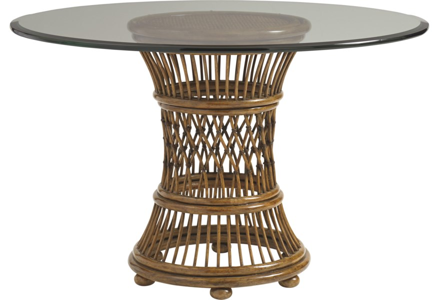 Tommy Bahama Home Bali Hai 36 Round Glass Dining Table Stuckey Furniture Dining Tables
