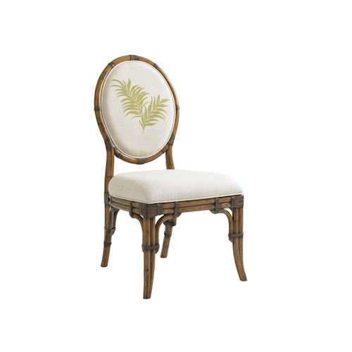 Tommy Bahama Home Bali Hai Quickship Gulfstream Oval Back Side Chair in Twin Palms