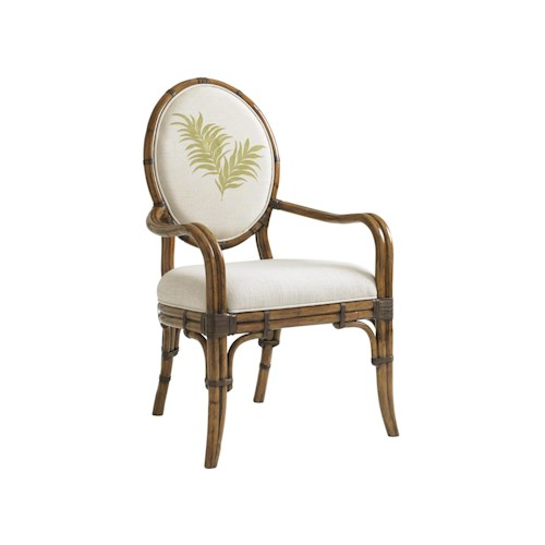 Tommy Bahama Home Bali Hai Quickship Gulfstream Oval Back Arm Chair in Twin Palms