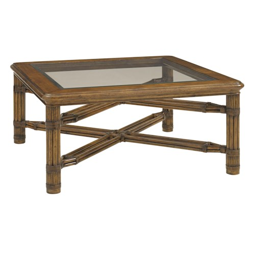 Tommy Bahama Home Bali Hai Capri Square Glass Top Cocktail Table