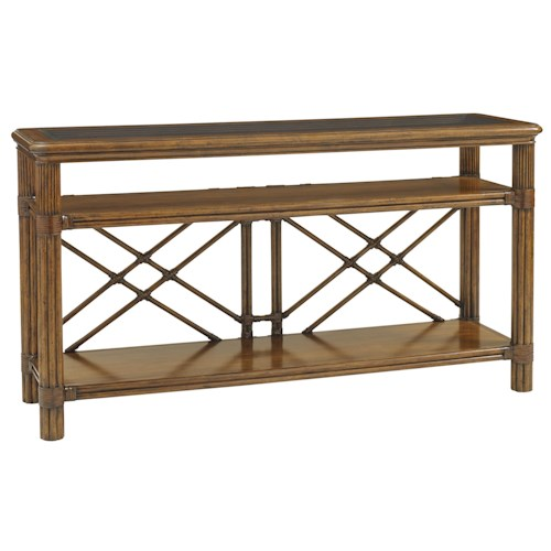 Tommy Bahama Home Bali Hai Islander Console with Rattan Stretchers and Glass Top